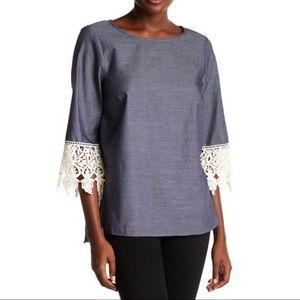 Kensie 3/4 Sleeve Chambray Lace Trim Blouse